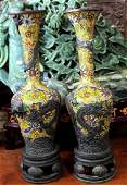Large Pair of Chinese Cloisonne & Bronze Dragon Vases