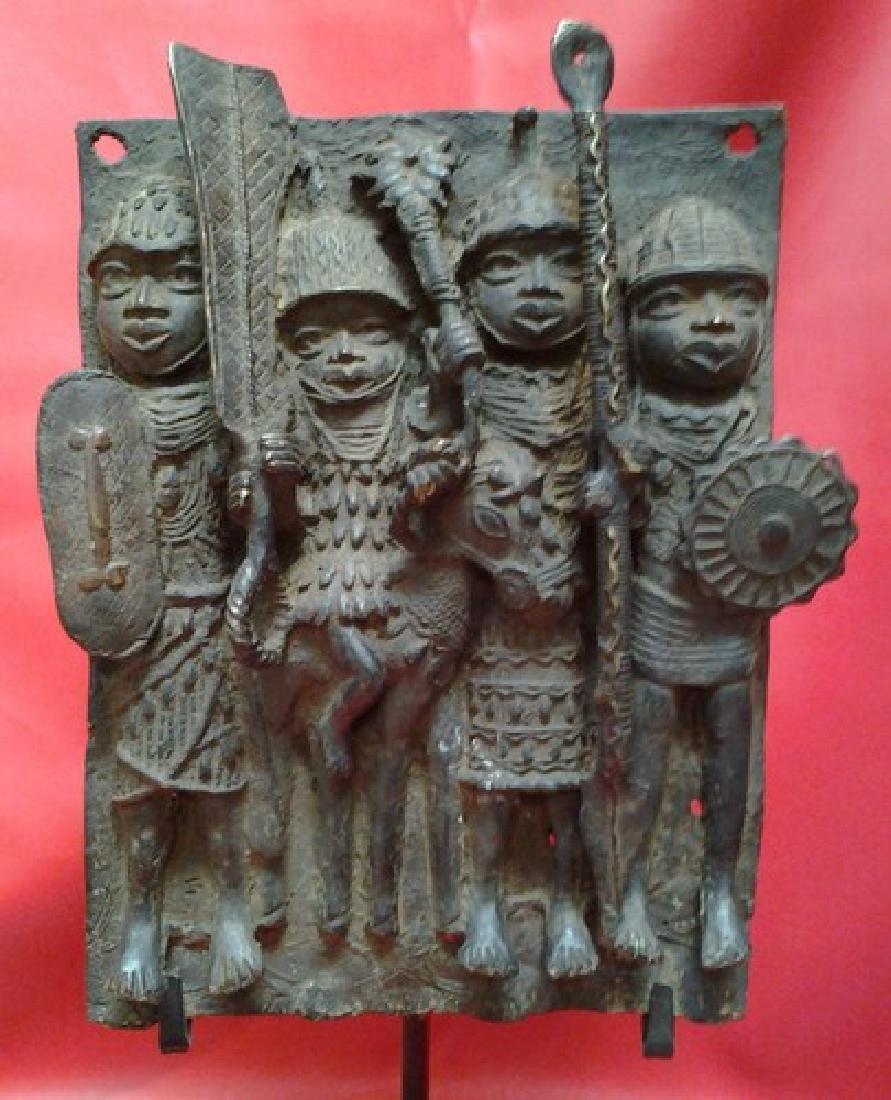 Old African Benin Bronze Work Plaque