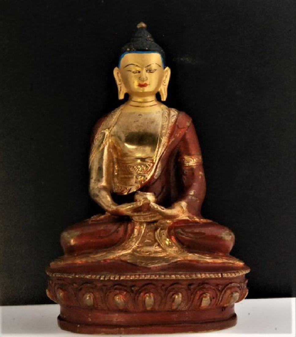 Old Bronze Tibetan Buddha Sculpture