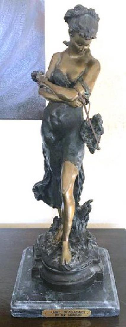 "Antique Moreau Sculpture ""GIRL By Hippolyte"", 20"""