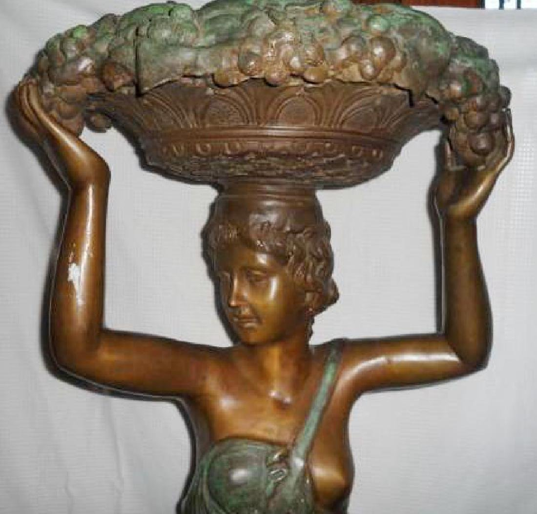 Tall Bronze Sculpture Statue of Woman With Fruit