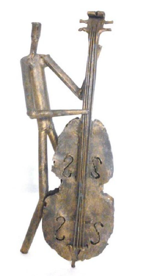 "Brass Metal Bass Player Sculpture 16.50"" Tall"