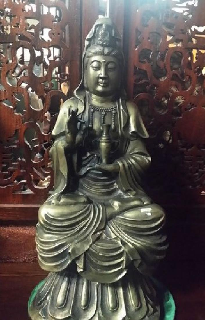 xLg Old Chinese Bronze Guan Yin Statue