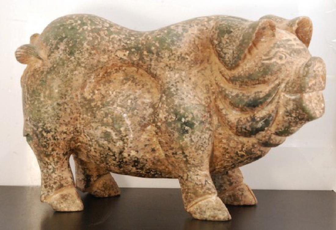 Giant Old Chinese Carved Jade Pig Sculpture