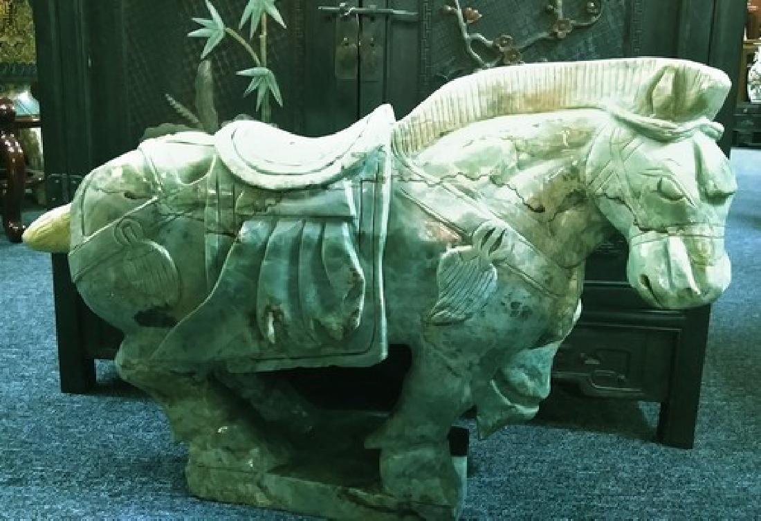 Huge Ancient Chinese Green Jade Jadeite Horse Sculpture