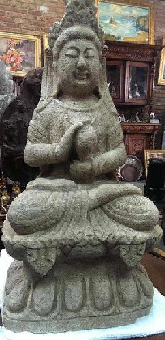 """Old Chinese Guanyin Stone Sculpture 31"""", 100-lbs"""