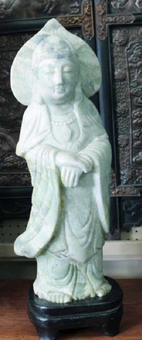 Sacred Chinese Green Jade Guanyin Sculpture on Stand