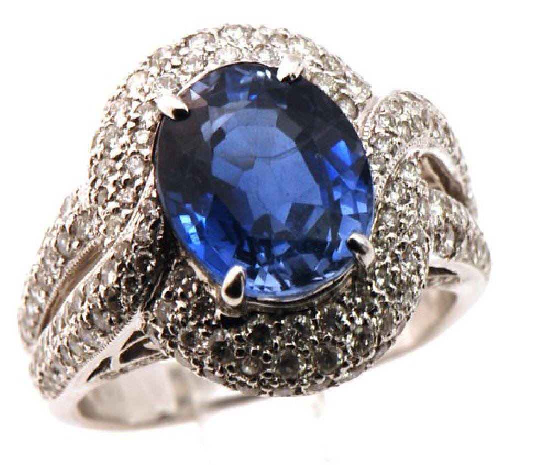 18K Gold Blue Sapphire & Diamond Ring (Estate)