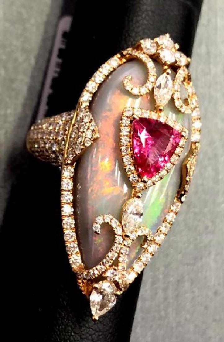 Free Fedx Huge 18K Gold Designer Ring of Diamond, Opal