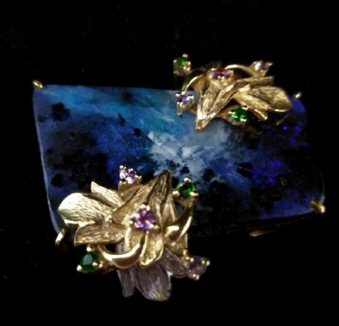 Antique Black Australian Opal Diamond Brooch of 18K