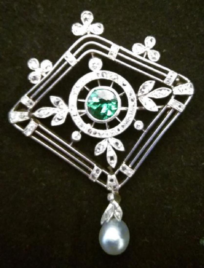 Antique Tsavorite Garnet Pearl & Diamond Brooch of 18K