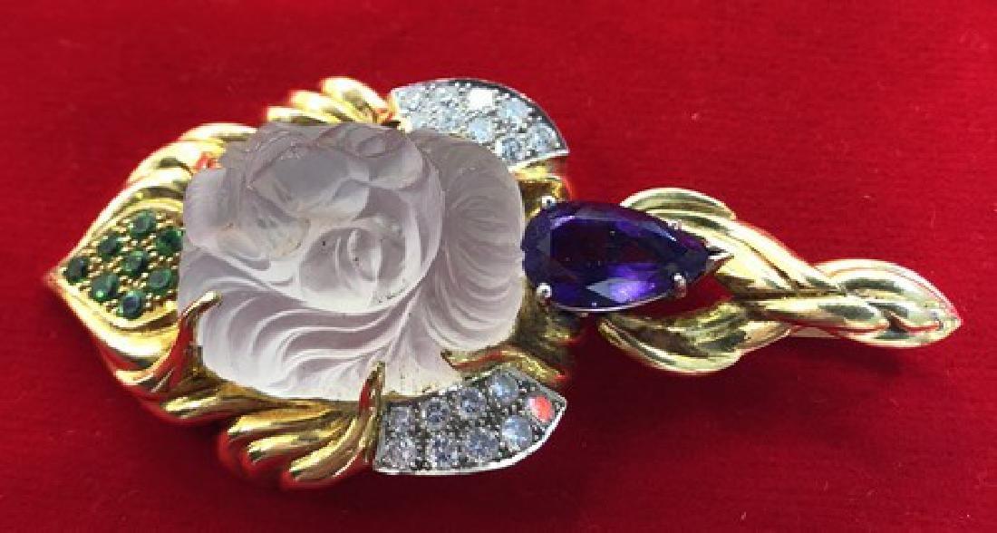 Large Lalique Designer Pendant in 18K Gold w.