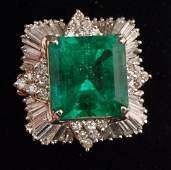 Certified 17.69ctw Columbian Emerald Ring w. Diamonds