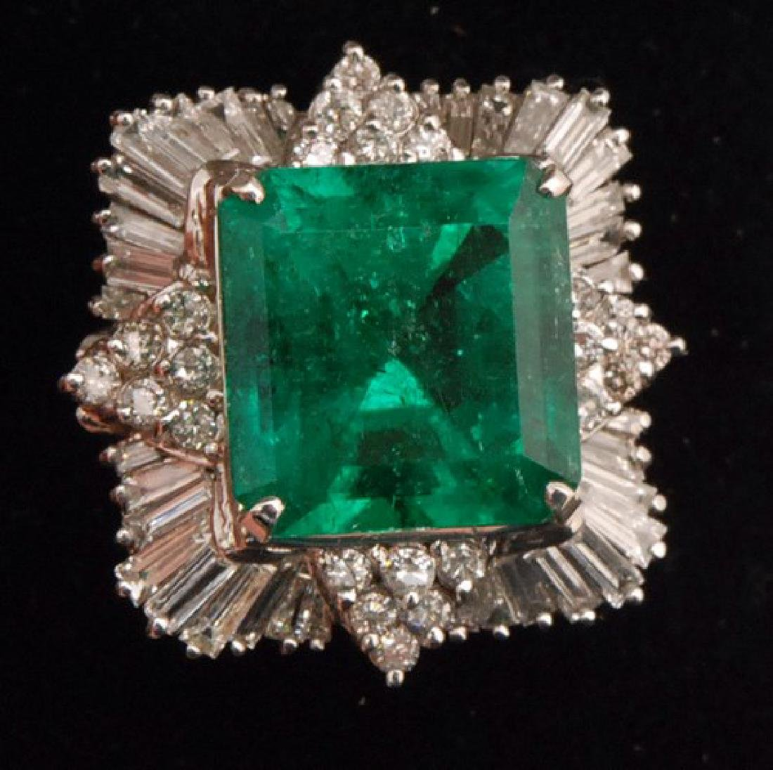 Certified 17.69ctw Columbian Emerald Ring w. Diamonds