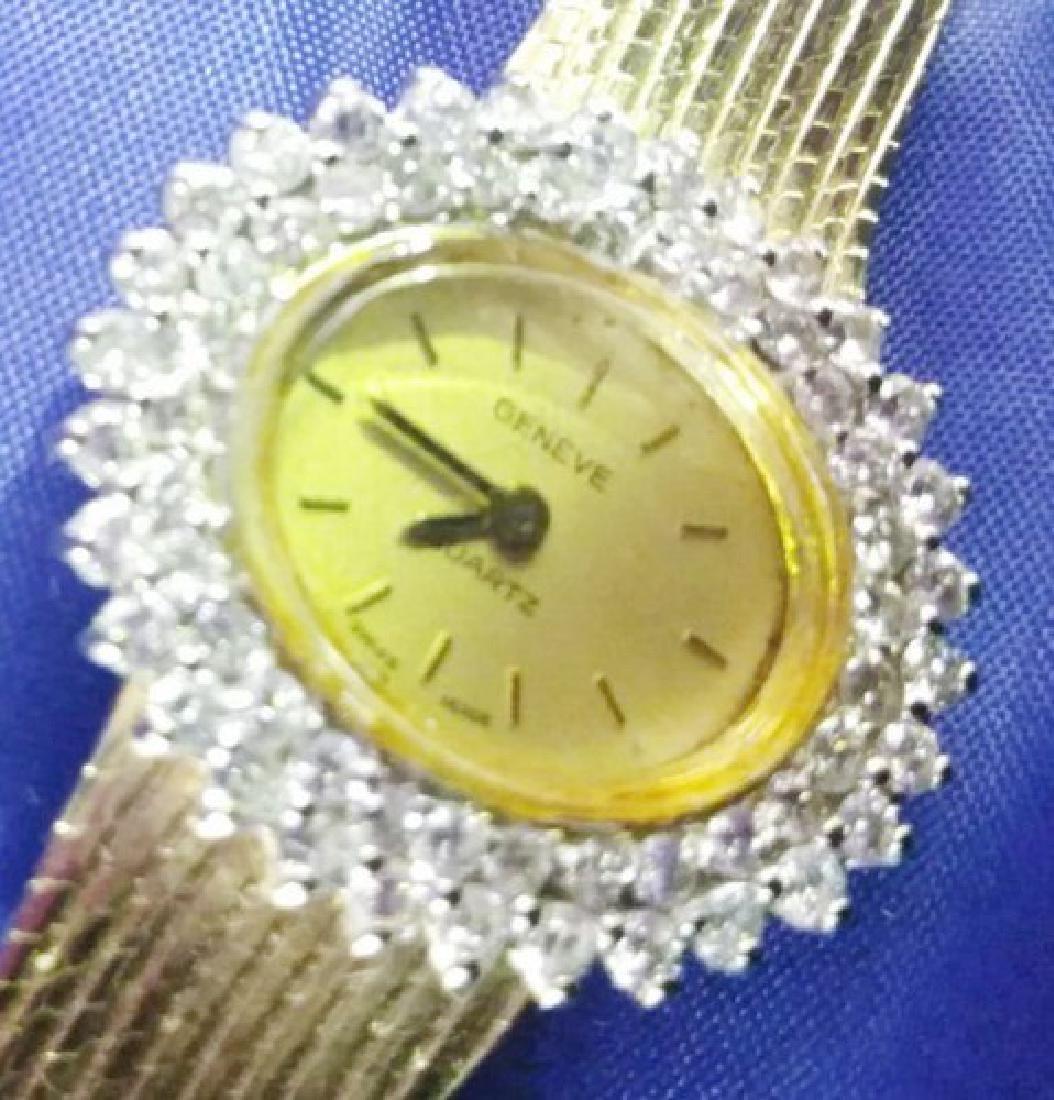 Certified 18K Gold & Diamond Ladies Geneve Watch 38