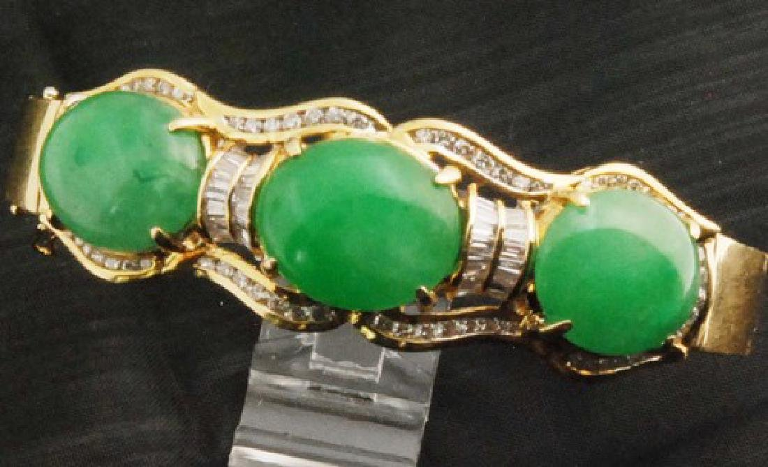 Certified 18K Gold Jade & Diamond Bangle Bracelet