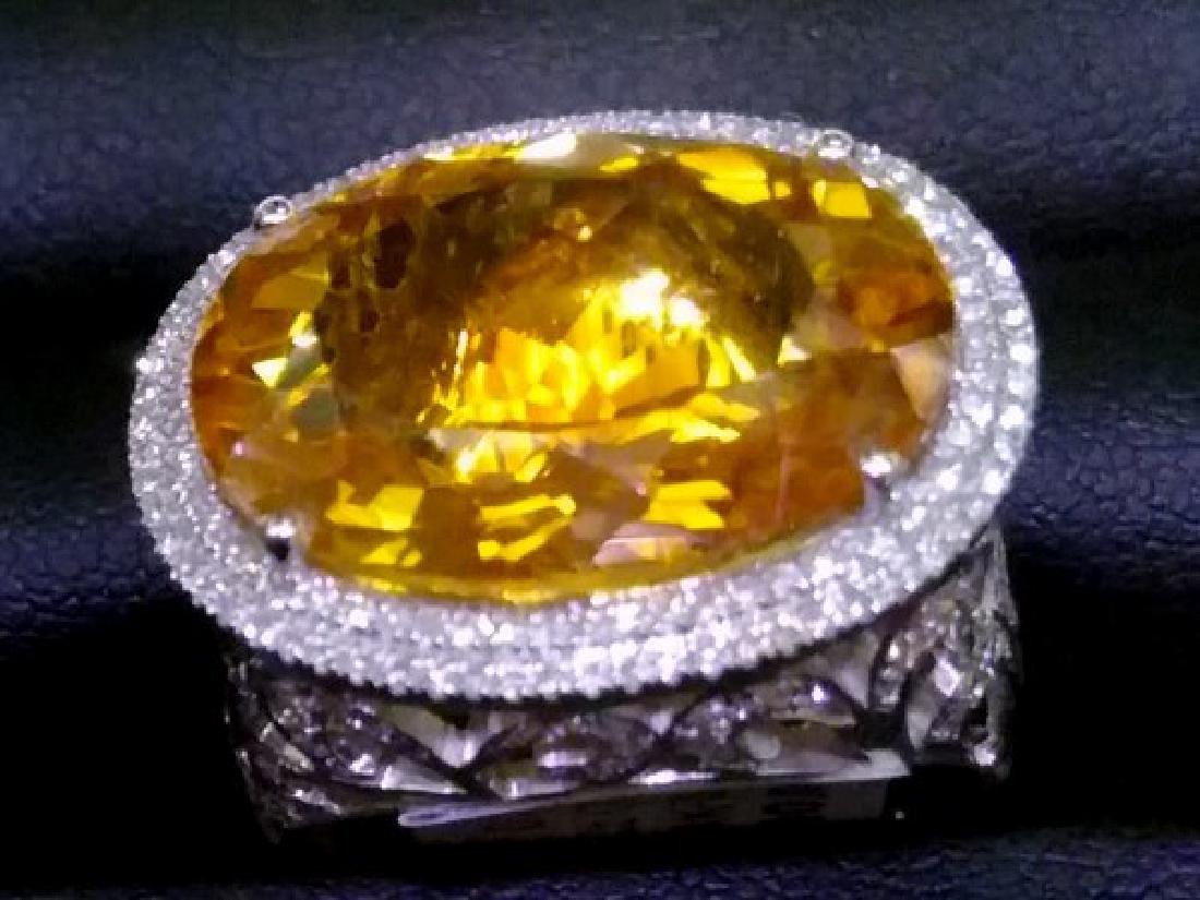 Stunning Citrine & Diamond Ring in White Gold