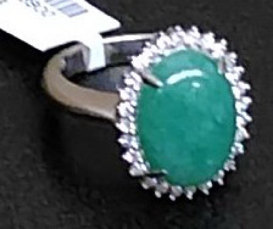 Estate 18K Gold Diamond & Jade Ring