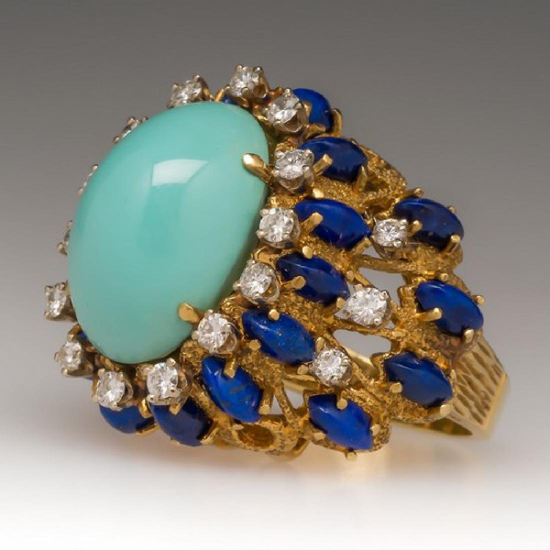 FINE 18K GOLD NATURAL PERSIAN TURQUOISE COCKTAIL RING