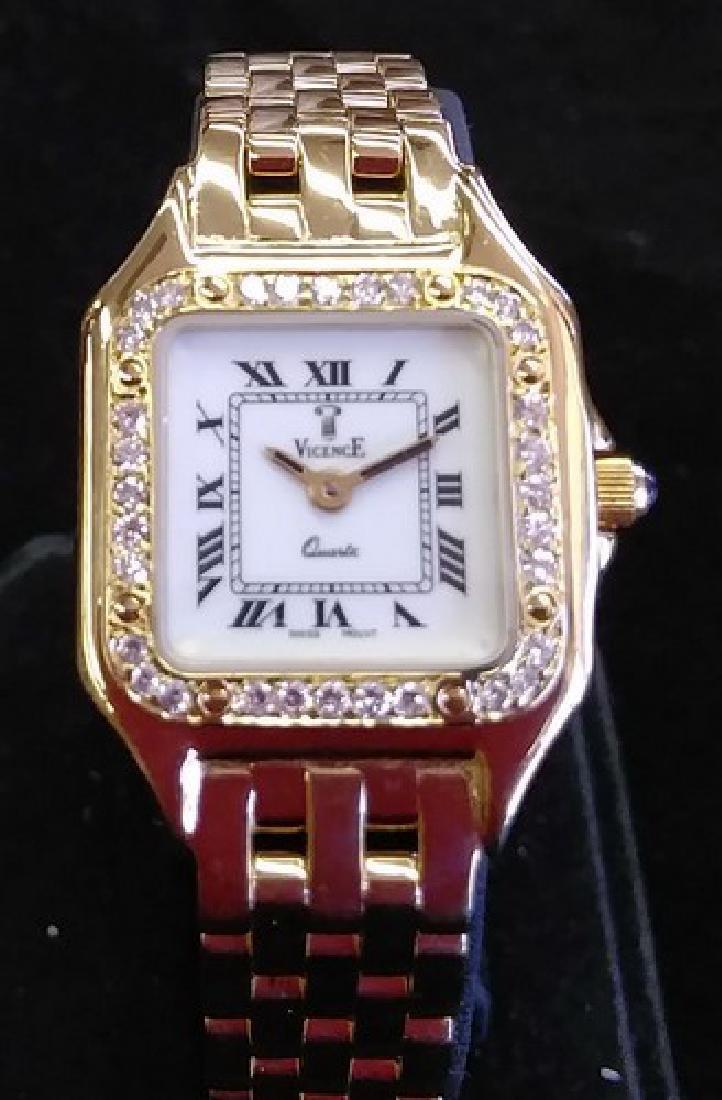 Ladies 18K Gold Vicence Watch w. Diamonds