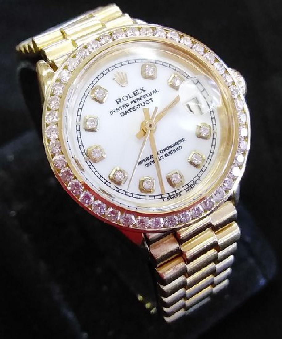 Ladies 18K Yellow Gold Rolex w. Diamond Bezel