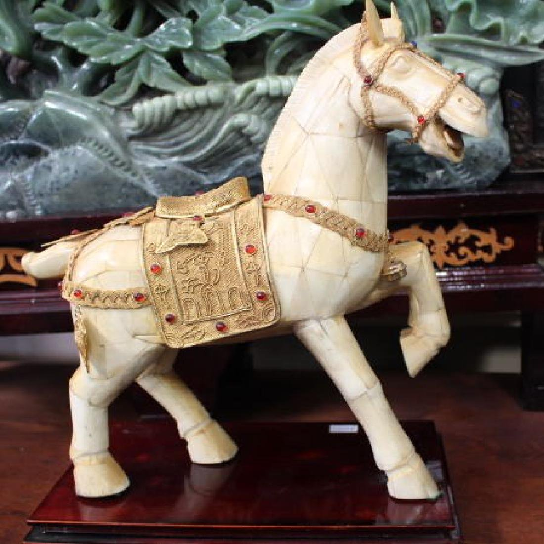 Chinese Horses Decorated w. Silver Gold Leaf & Gems