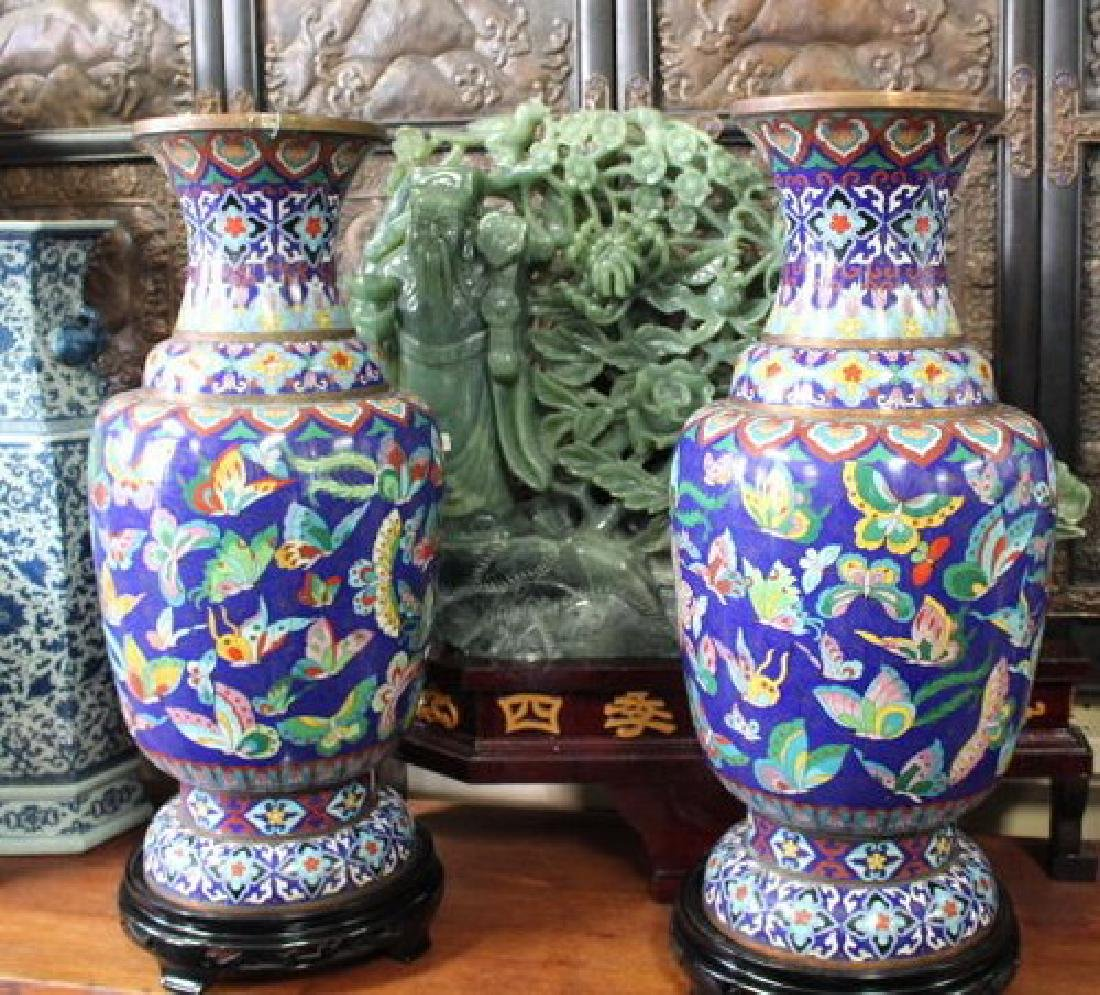 Large Chinese Cloisonne Vases (All Butterfly Motif