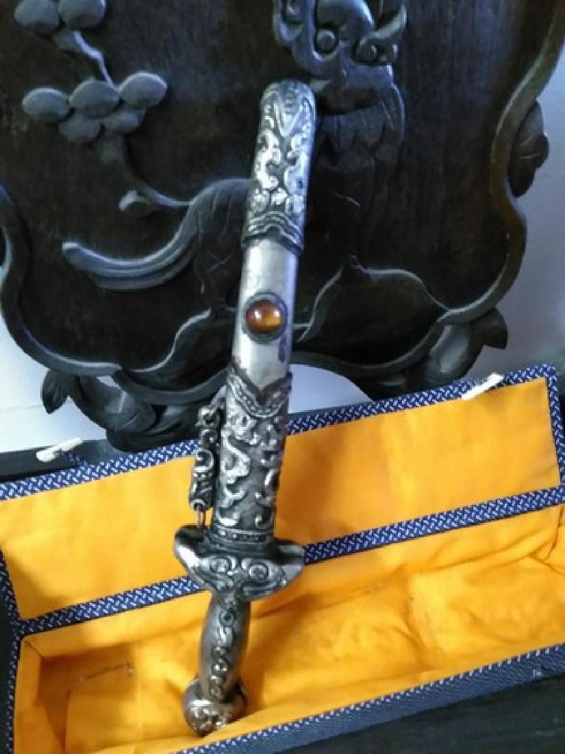 "12"" Vintage Chinese Silver Dagger 2-Blades w. Carnelian"