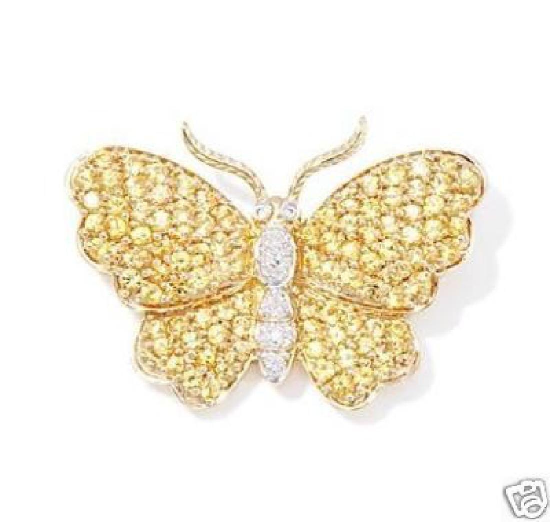 20K Gold Yellow Sapphire Butterfly Pendant