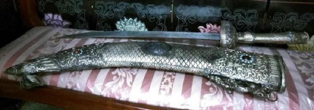 """48"""" Antique Chinese Silver Sword w. Black Jadeite"""