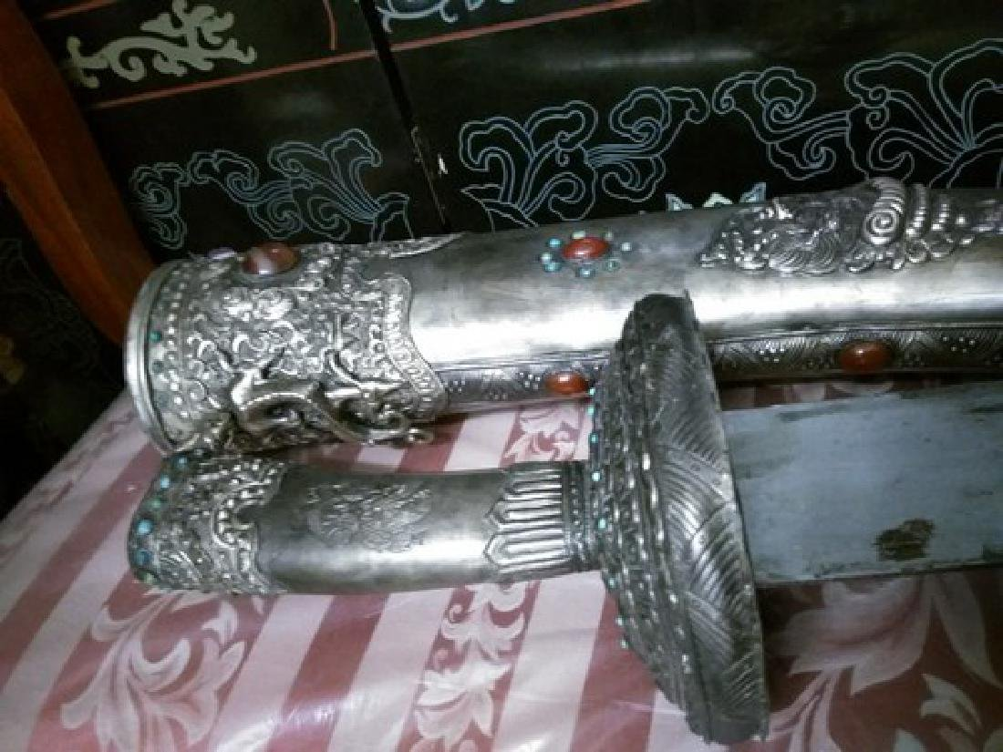 """48"""" Antique Chinese Silver Sword w. Carnelian & Agate"""