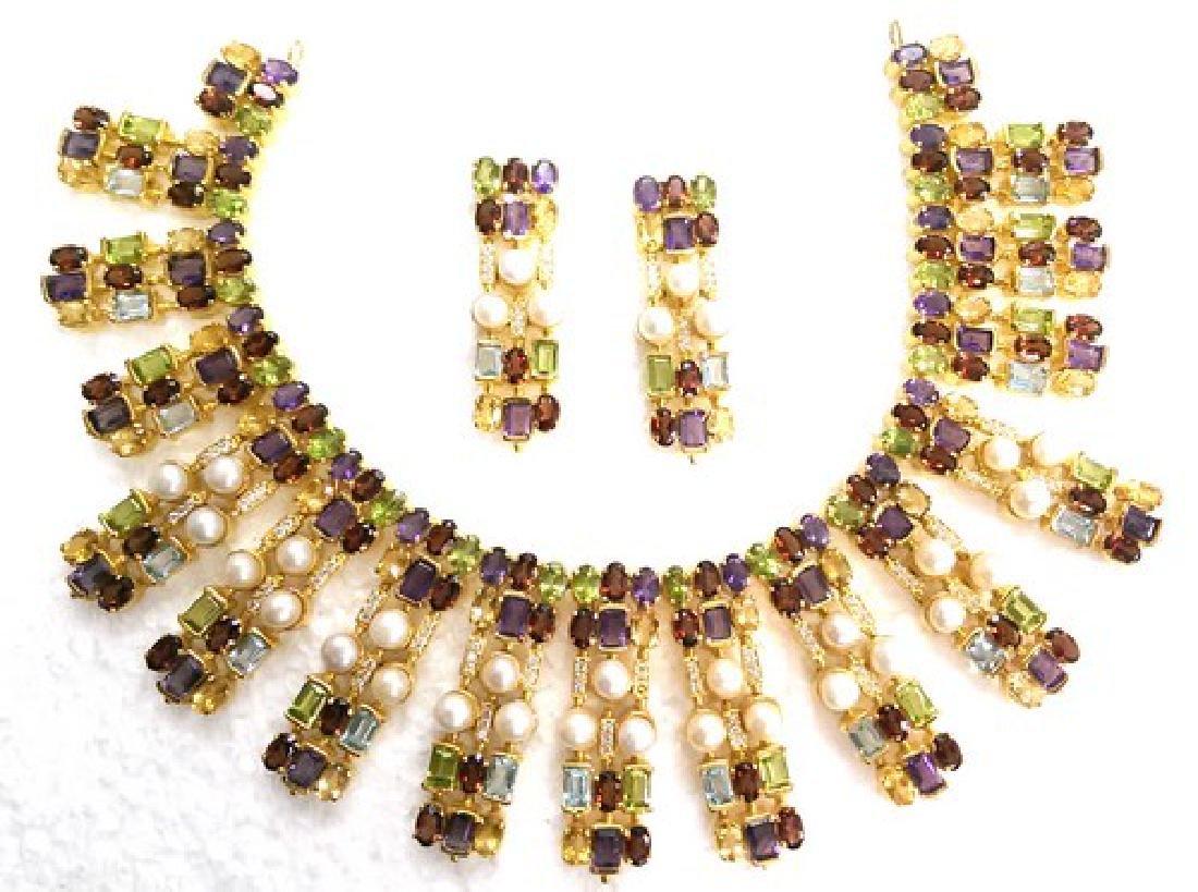Exotic 22K Gold Multi-Precious Gemstone Jewelry Suite
