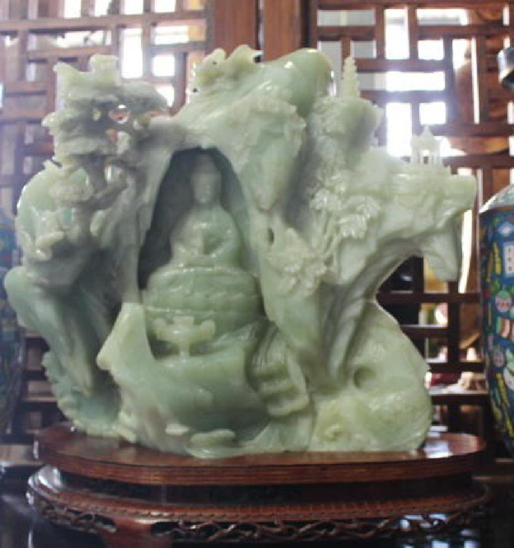 "Amazing Large Chinese Green Jade Guanyin ""Goddess of"