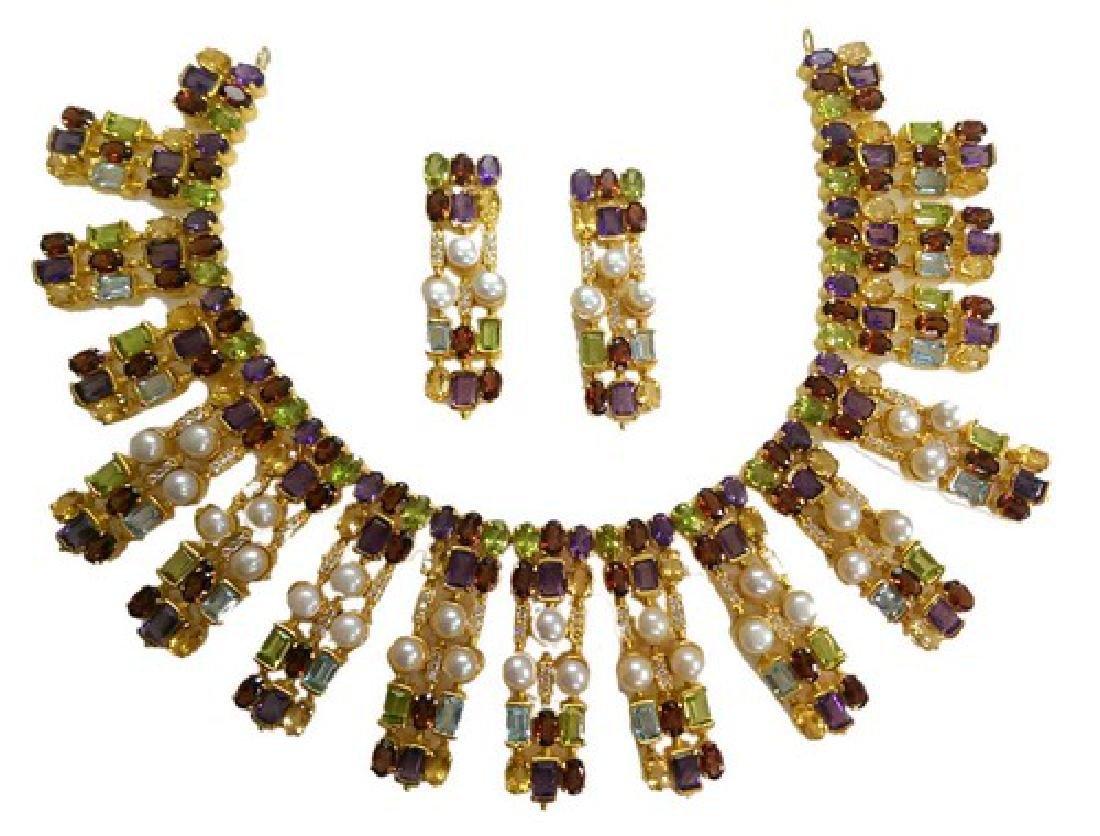 Multi Color Semi Precious Stone Necklace Set