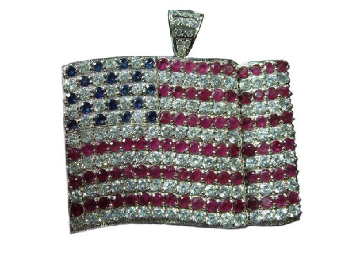 Platinum Ruby & Sapphire USA Flag Pendant