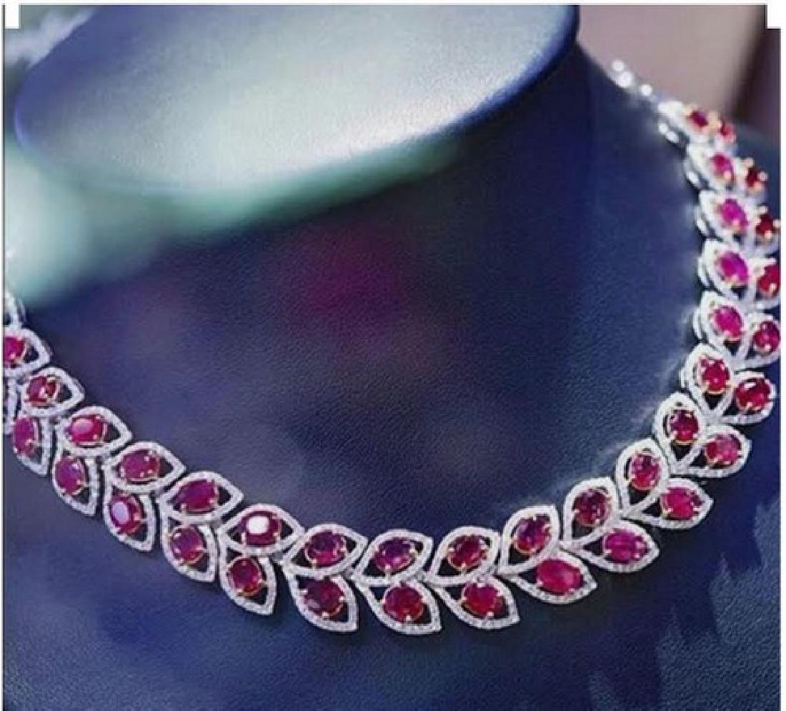 Platinum Ruby & White Sapphire Necklace Suite