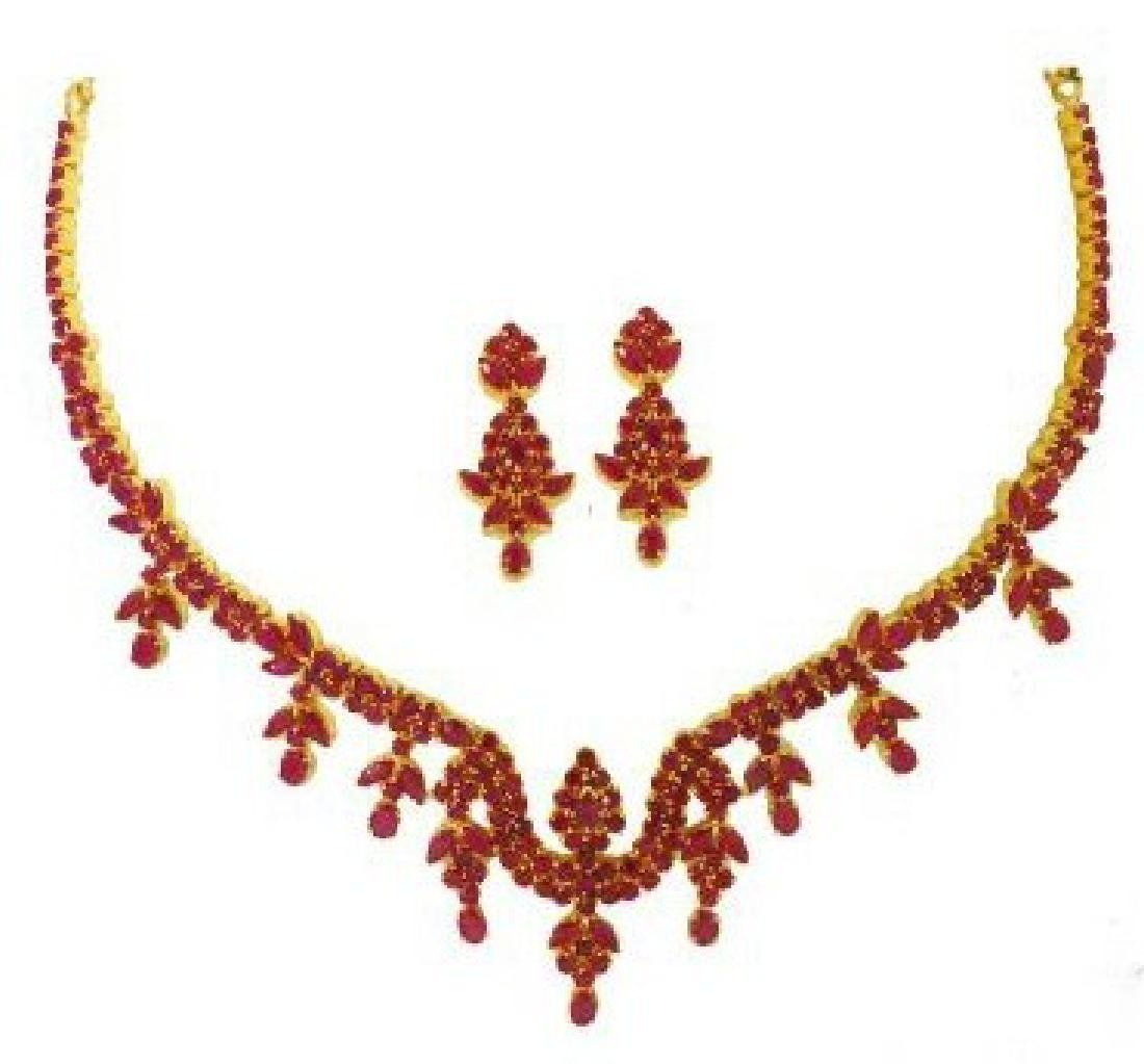 Precious 22K Gold Ruby Jewelry Suite Set