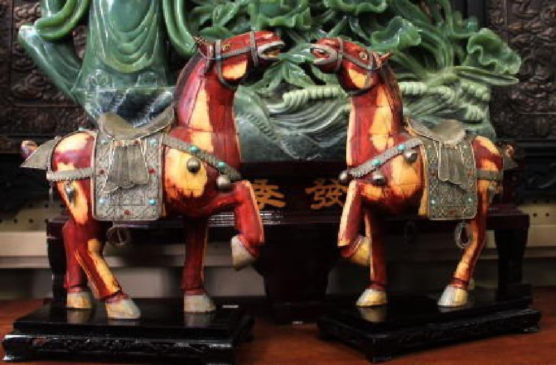 Chinese Bone Mosaic Horse Sculptures of Gold Leaf