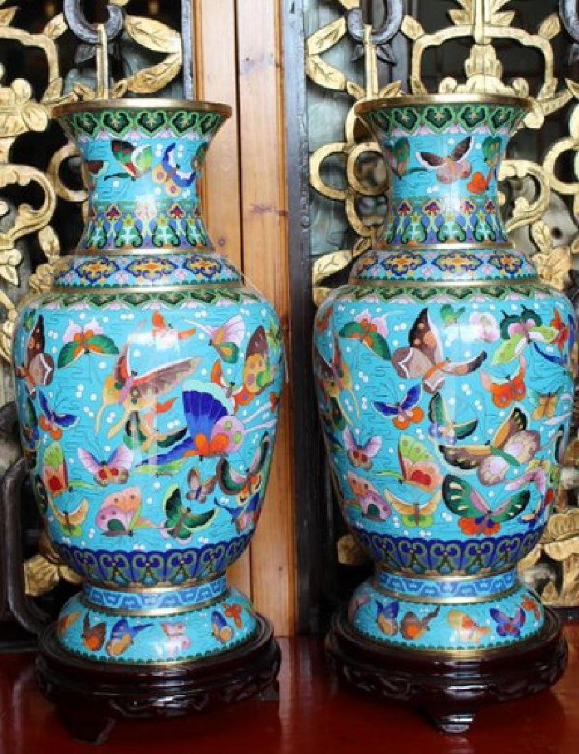 Chinese Butterfly Vases A Pair
