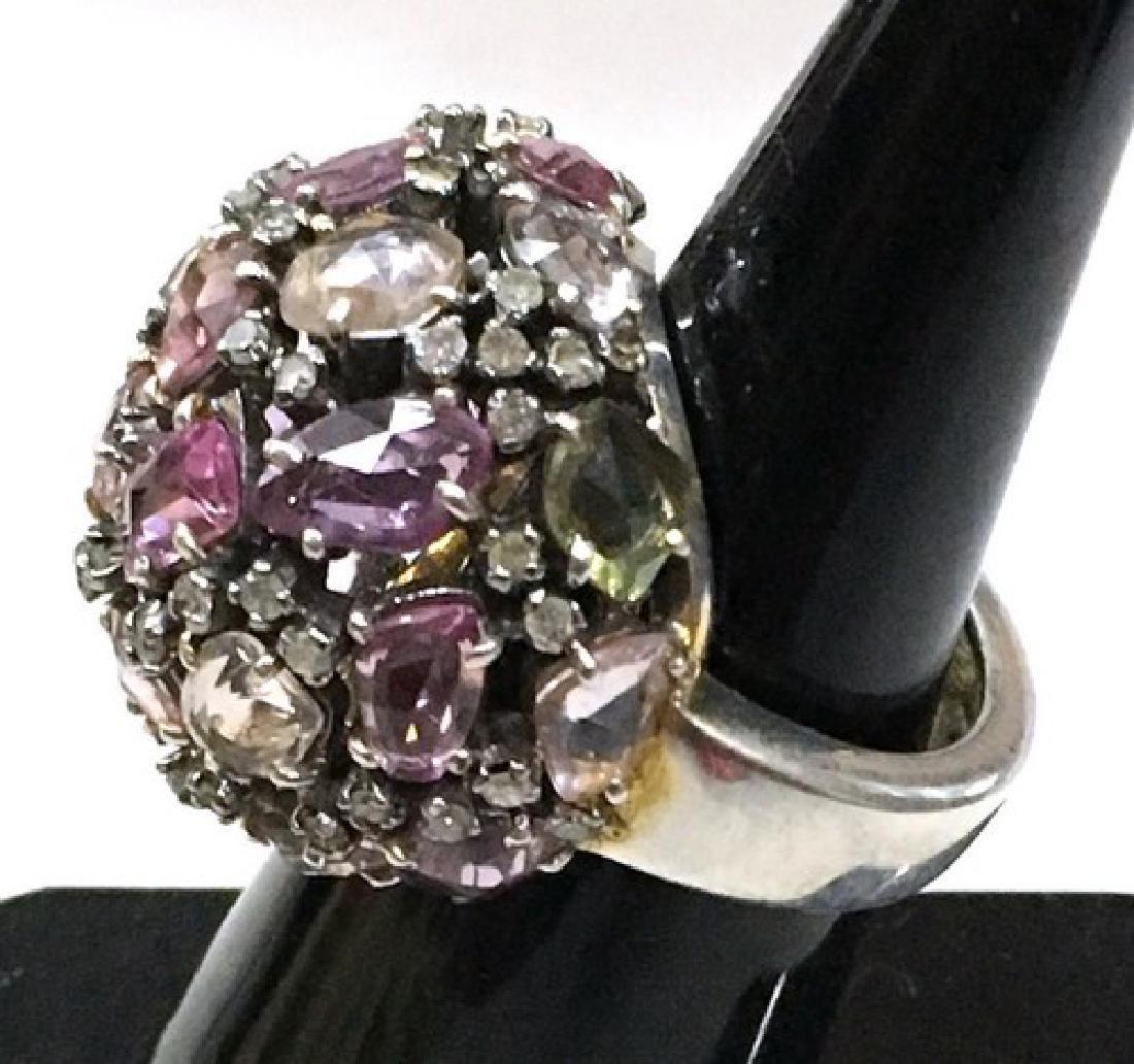 Platinum Multi-Color Sapphire Cocktail Ring