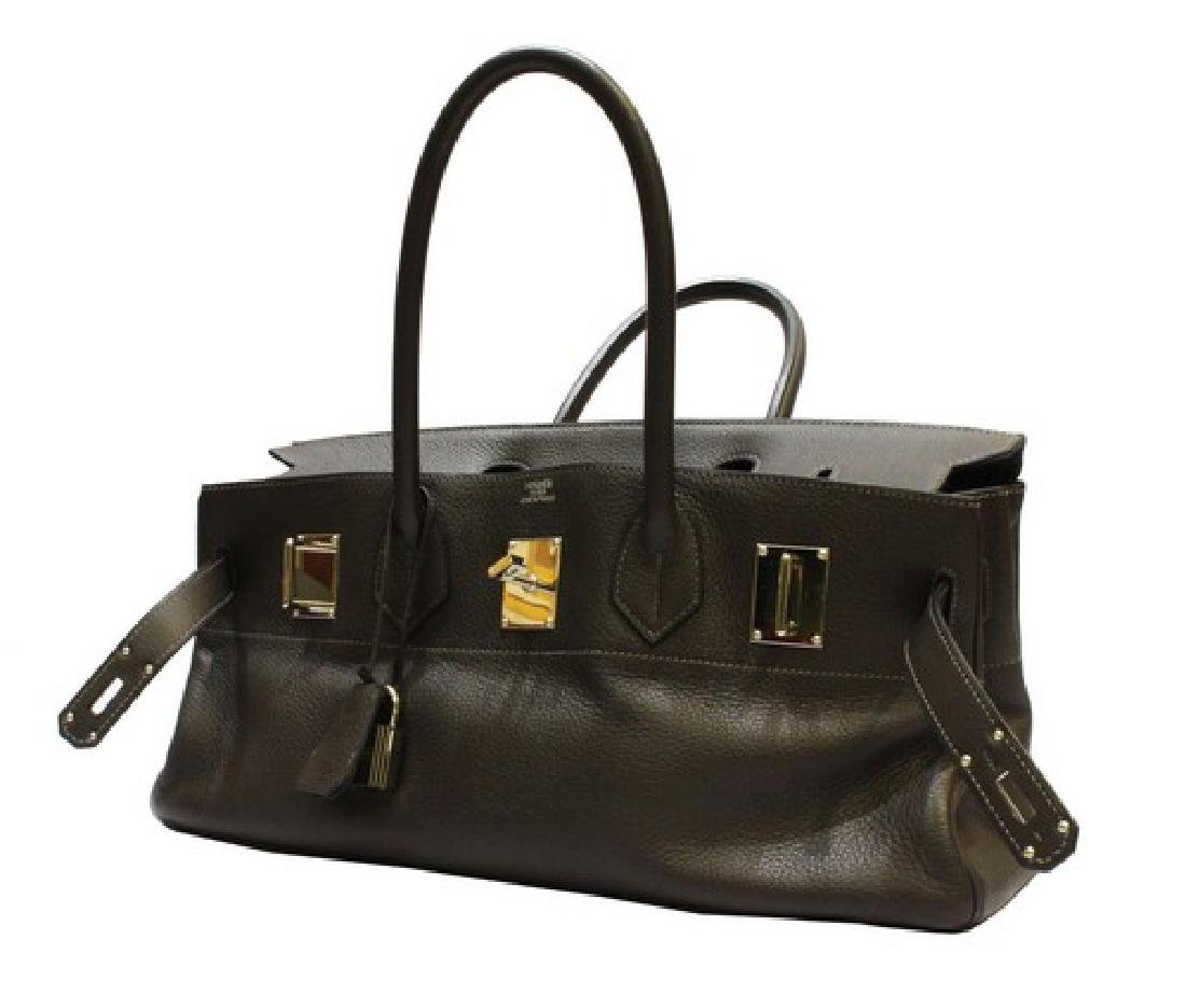 100% Authentic Luxury Brand: Hermes  In Black Leather