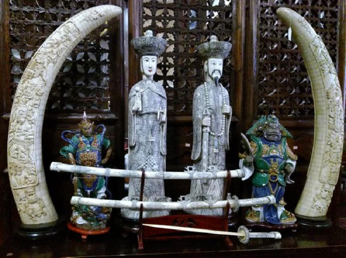 Huge Antique Chinese Tusk Bone Pair