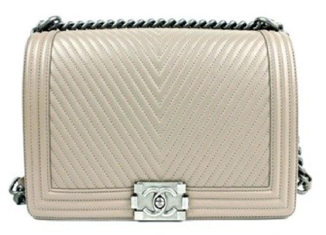 CHANEL Handbag Boy Flap Chevron Beige