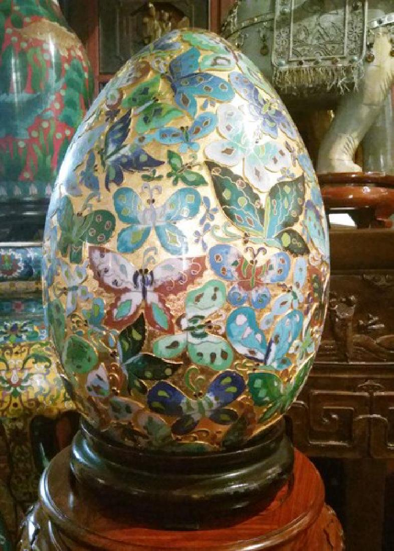 Huge Extremely Rare Fine Chinese Gold Leaf Cloisonne