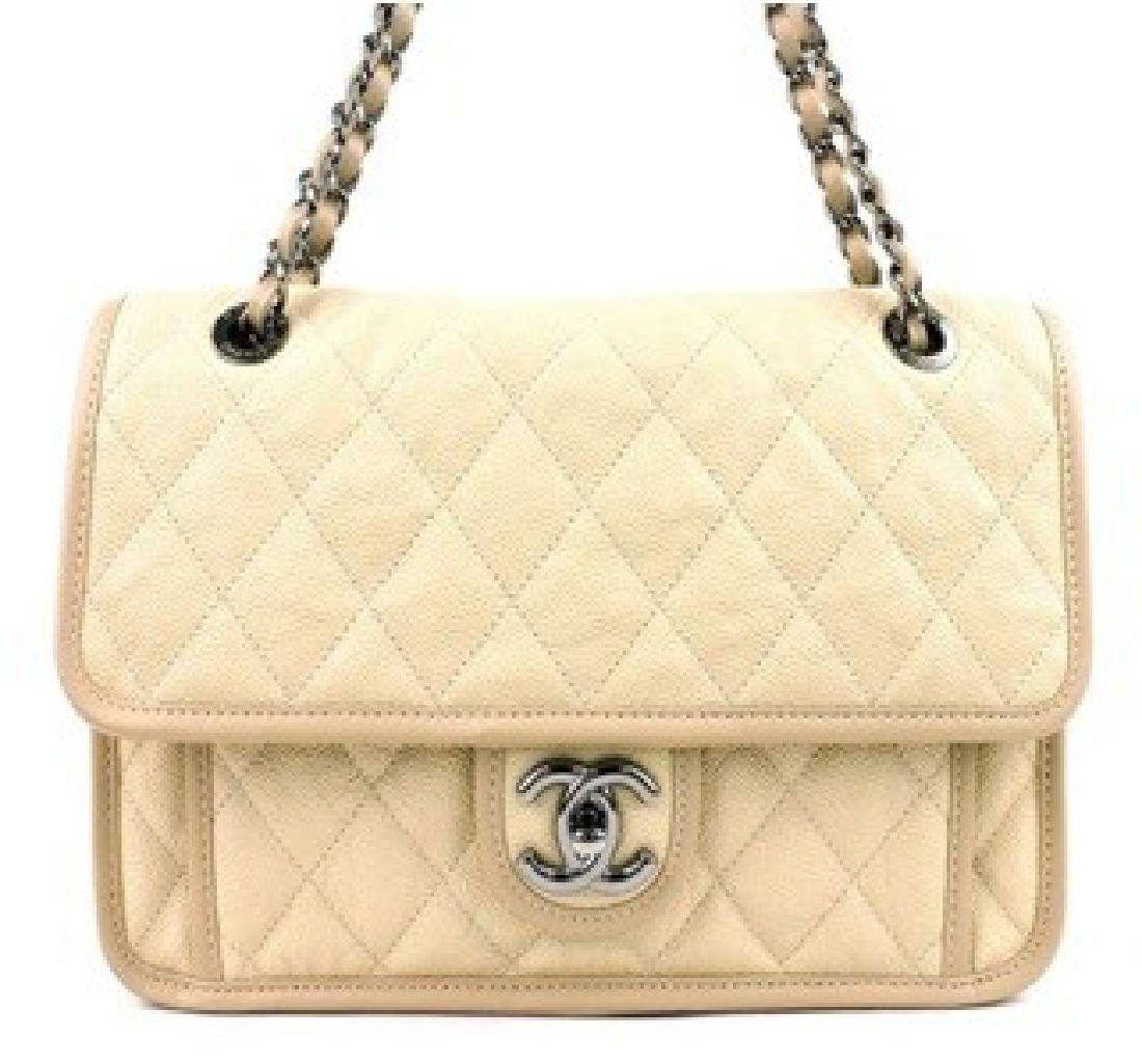 Chanel Handbag Caviar Flap Beige w. Authenticity Card