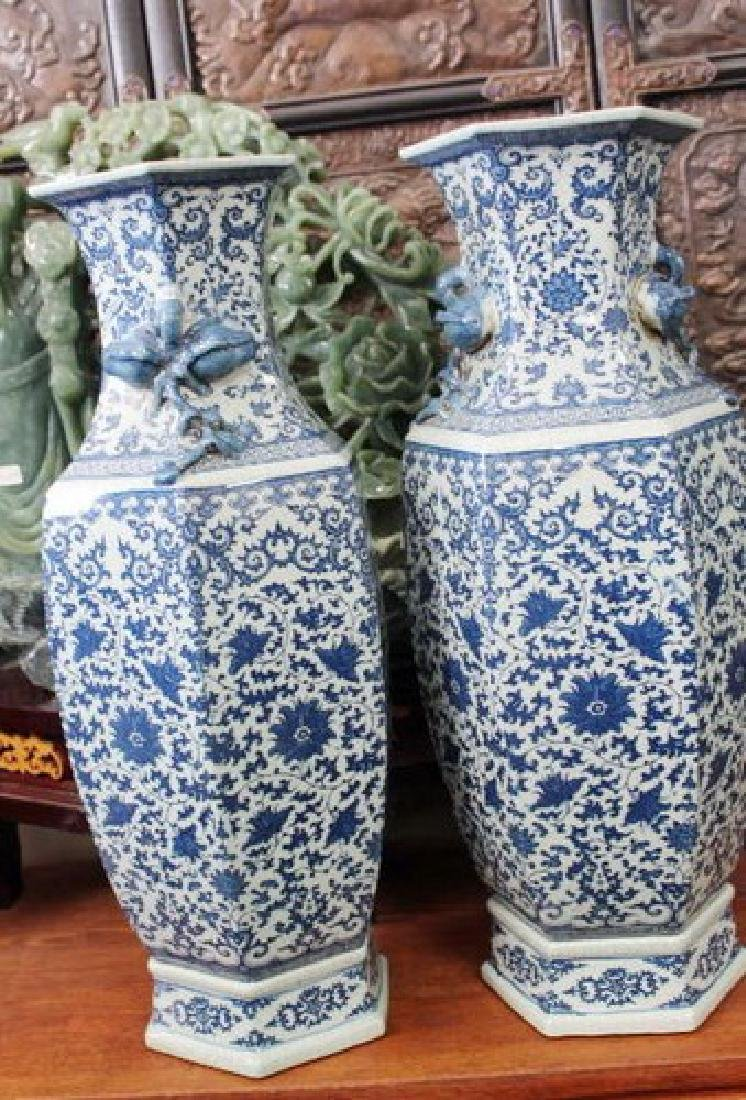 Large Chinese Blue & White Vases