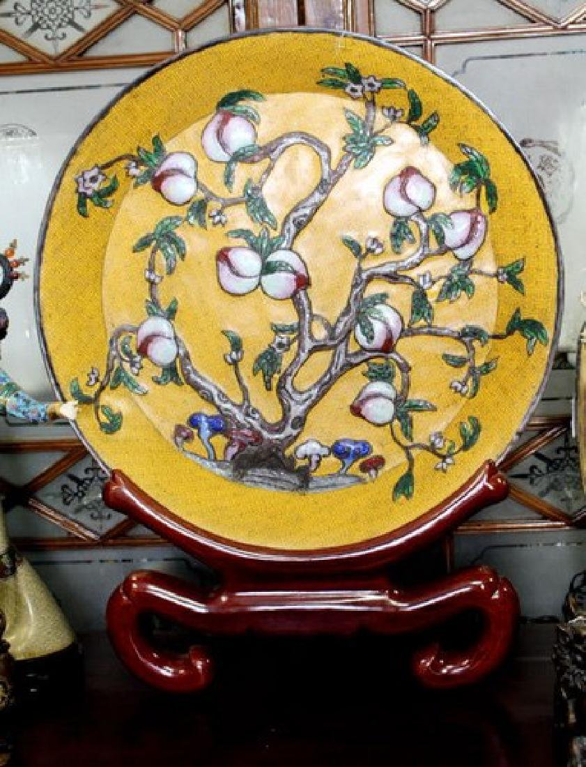 Large Chinese Cloisonne Plate w. Mark