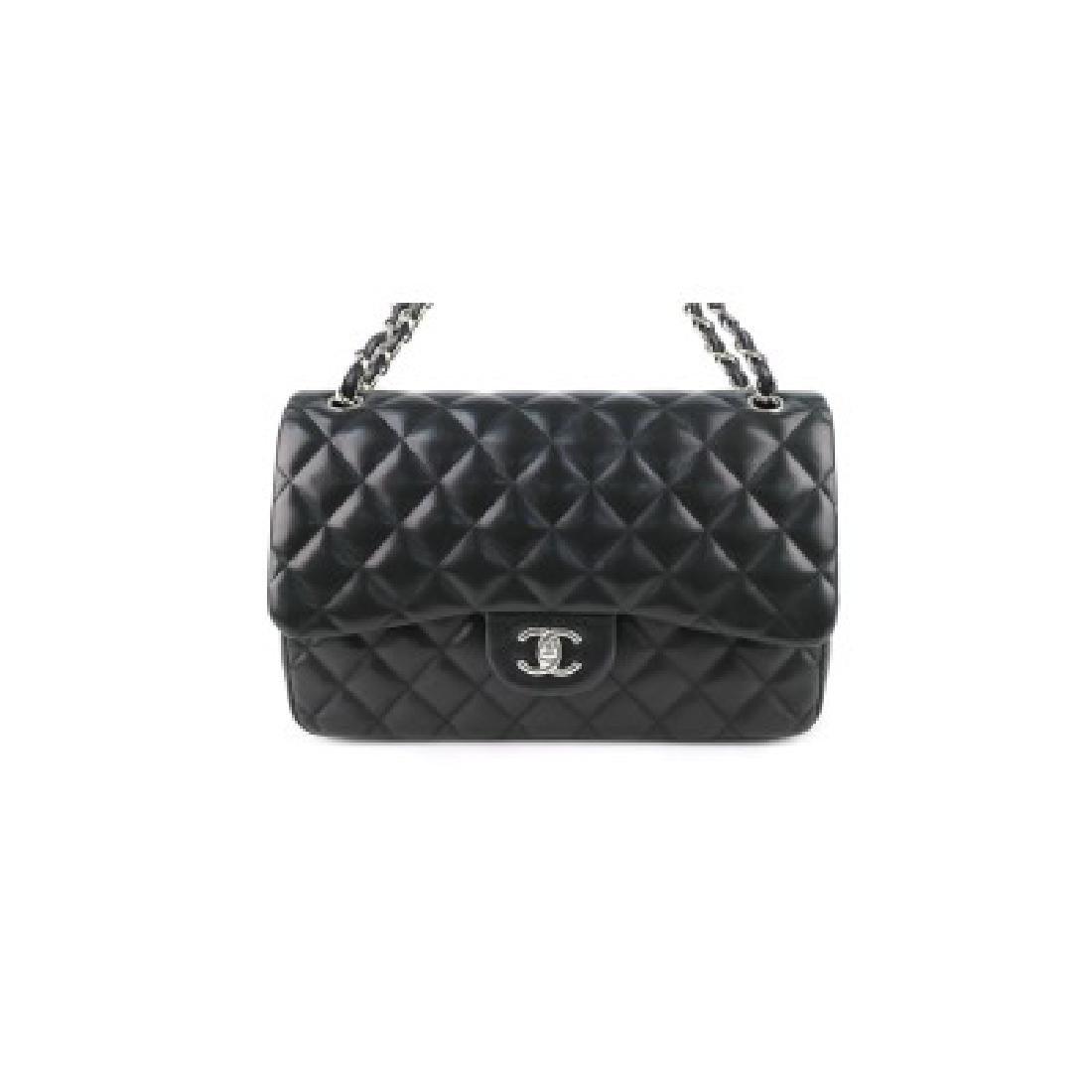 Channel Black Jumbo Double Flap  Handbag