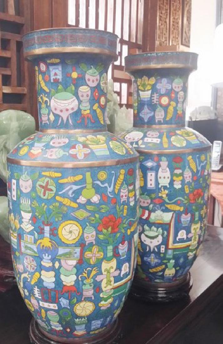 Large Chinese Copper Cloisonne Vases w. Seal
