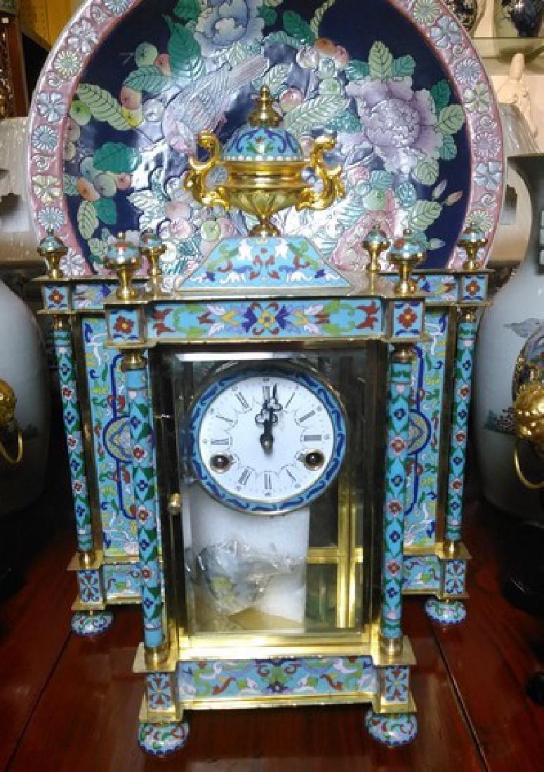 Large Vintage Chinese Gold Leaf Cloisonne Clock